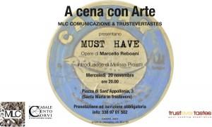 A cena con l'artista: appuntamento a Trustevertastes con Marcello Reboani 20 Novembre p.v.